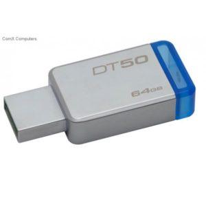 PEN DRIVE 64GB KINGSTON USB3.0 DATATRAVELER50 AZUL